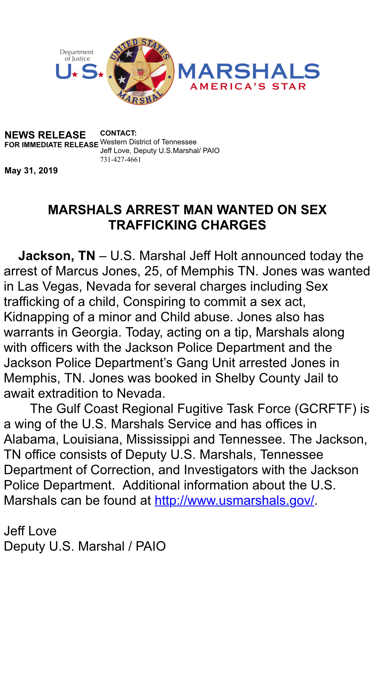 MARSHALS ARREST MAN WANTED ON SEX TRAFFICKING CHARGES
